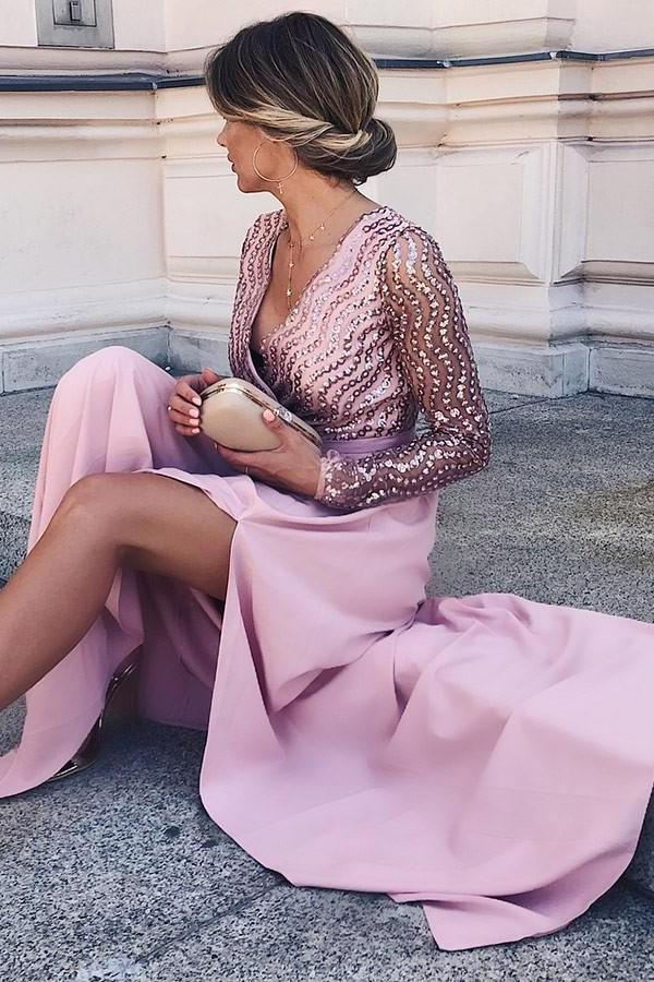a line v neck long sleeves satin pink long prom dress with split mp931