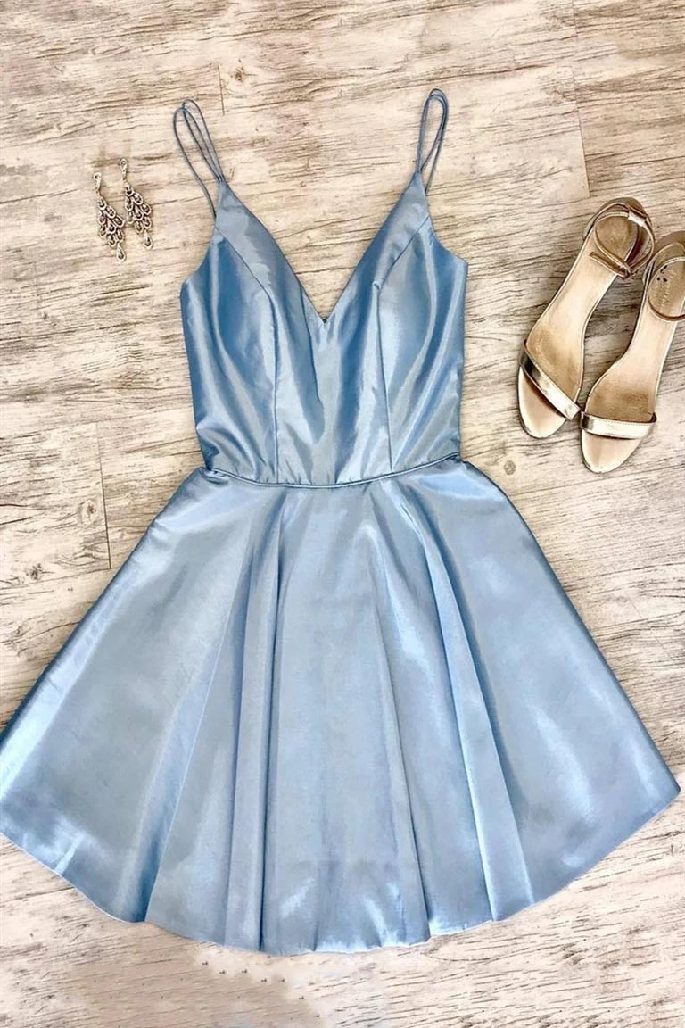 Simple Short Light Blue Homecoming Dress, A-line Satin Short Graduation Dress GM317