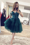 Beaded Short Dark Green Homecoming Dress, Gorgeous Short Prom Dress GM318