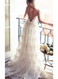 a line spaghetti straps lace backless long wedding dress pw275