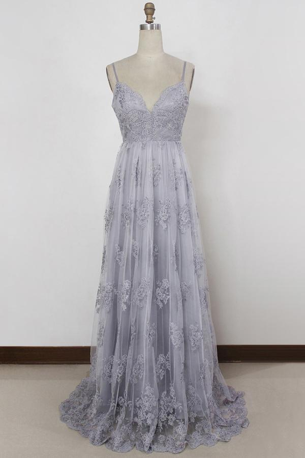 a line v neck backless tulle grey long prom dresses with appliques mp799