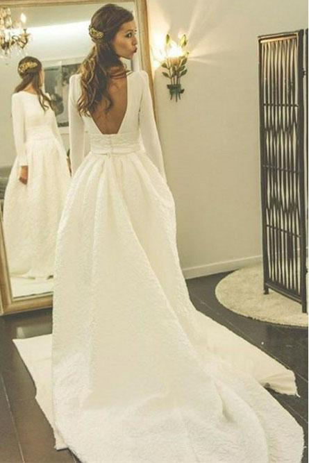 backless wedding dress a line bateau long sleeves bridal gown with pocket pw250