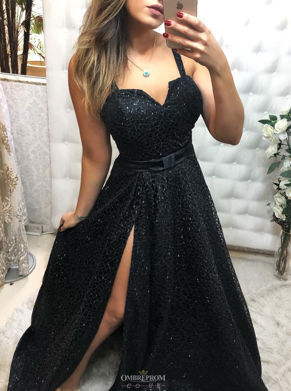 black lace long prom dress with slit, black evening gown mp751