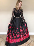 black lace long sleeves prom dress floral print two piece with beading mp724