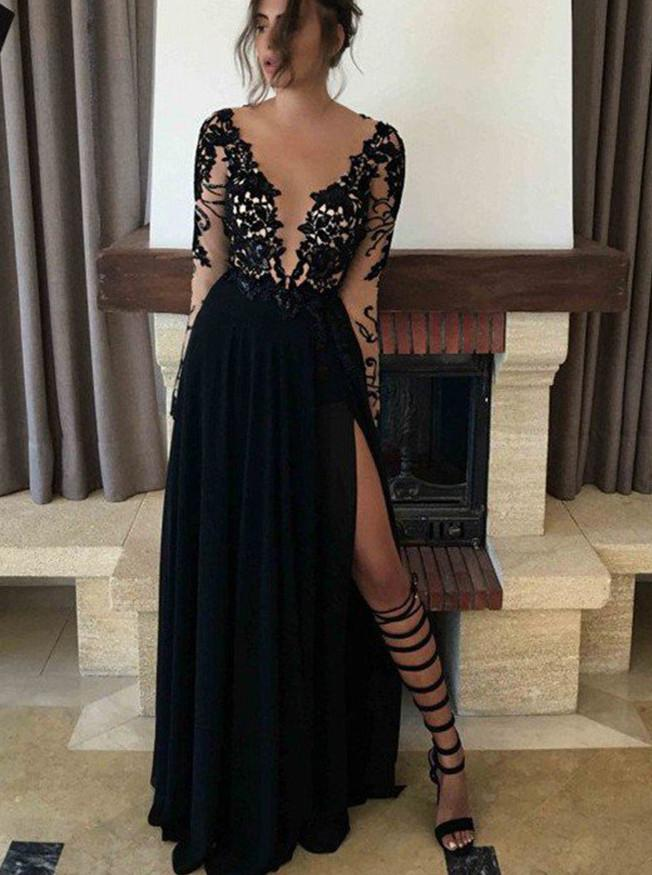 Black Long Prom Dress Long Sleeves Lace Appliques With Slit MP696