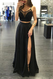black two piece prom dress a line spaghetti straps evening dress with split mp915