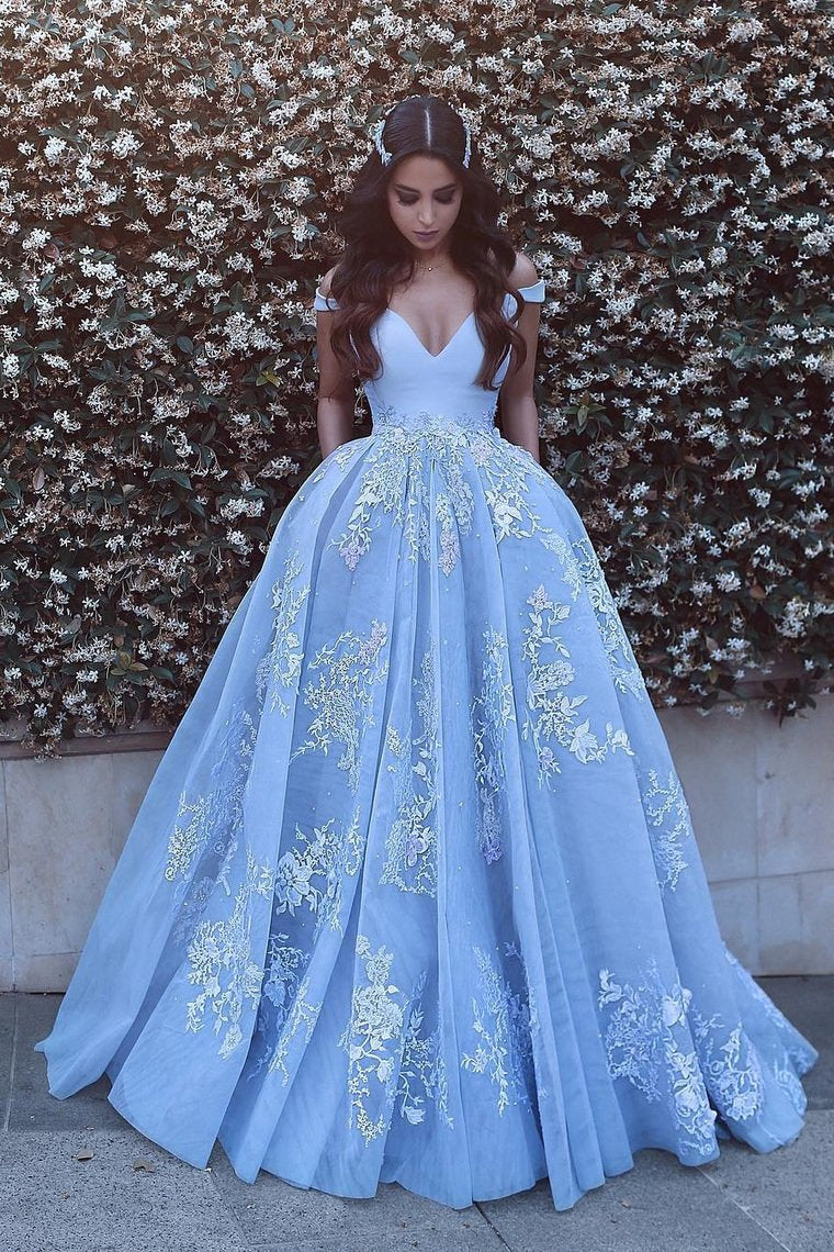 blue long prom dress off the shoulder tulle ball gown with appliques mp842