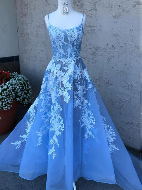 blue spaghetti straps tulle lace long prom dress with appliques mp859