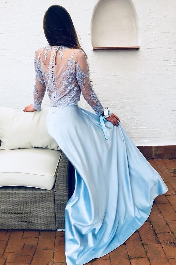 blue two piece prom dress lace long sleeves a line party gown mp827
