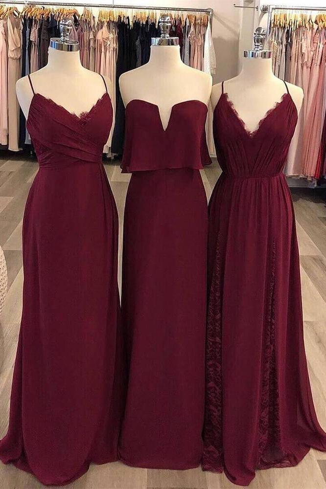 burgundy chiffon styles boho long bridesmaid dresses pb178