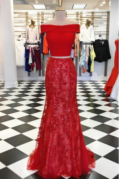 buy off the shoulder lace mermaid long two piece prom dresses mp974