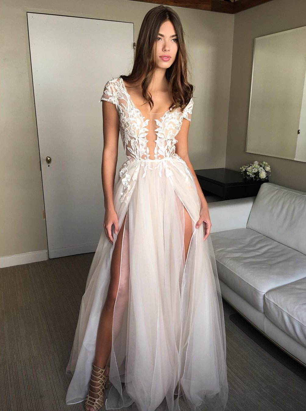 cap sleeve a line lace tulle long backless prom dress slit evening dress mp959