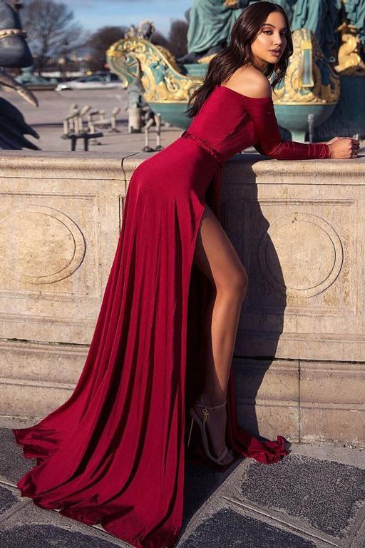 charming burgundy off the shoulder long sleeves prom dress with slit mp877