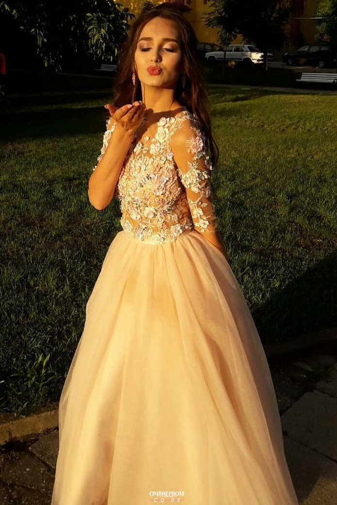 charming floral appliques long prom dresses with 3 4 sleeves mp766