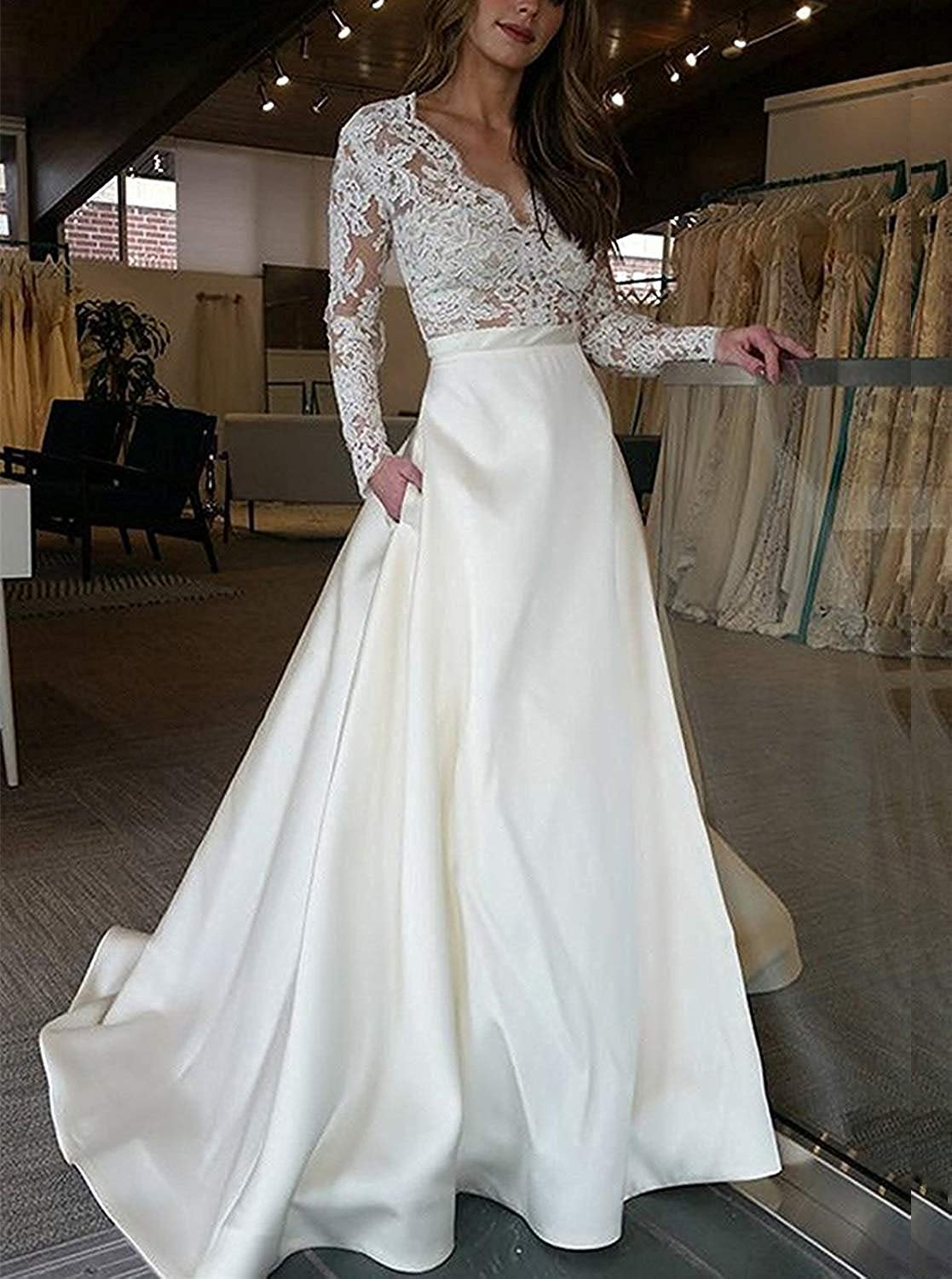 Cheap V-neck Lace Long Sleeves Satin Wedding Dress With Pocket PW268