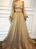 Bling Bling A-Line Scoop Long Sleeves Gold Prom Dress With 3D Floral MP961