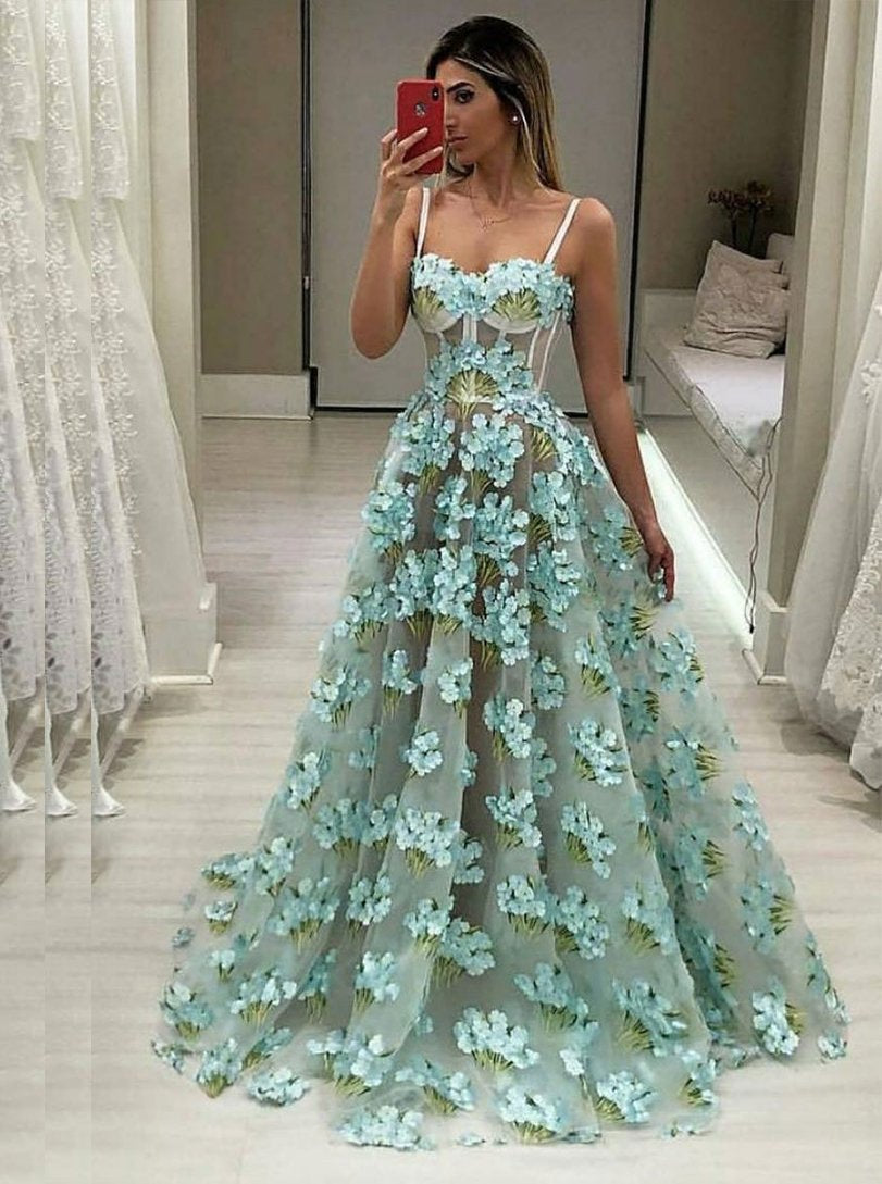 Chic A-line Spaghetti Straps Tulle 3D Floral Long Prom Dress MP953