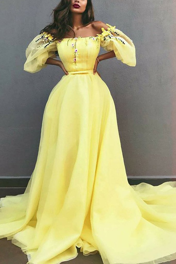 disney princess yellow off shoulder chiffon puff sleeves prom dresses mp863