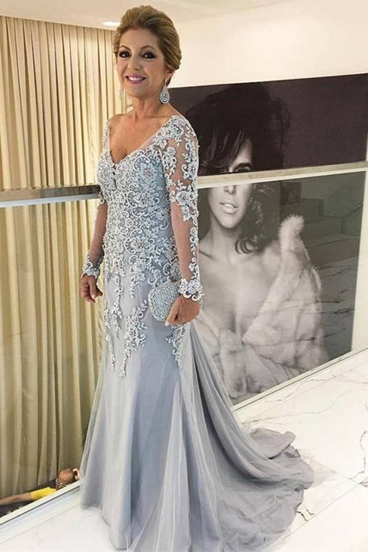 dusty silver lace appliques long sleeves mermaid mother pf the bride dress wm105