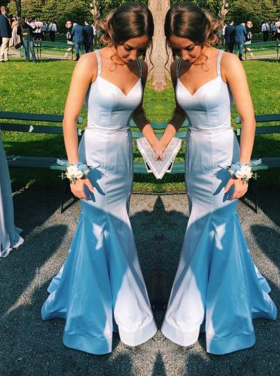elegant light blue mermaid backless prom dress with beading mp886