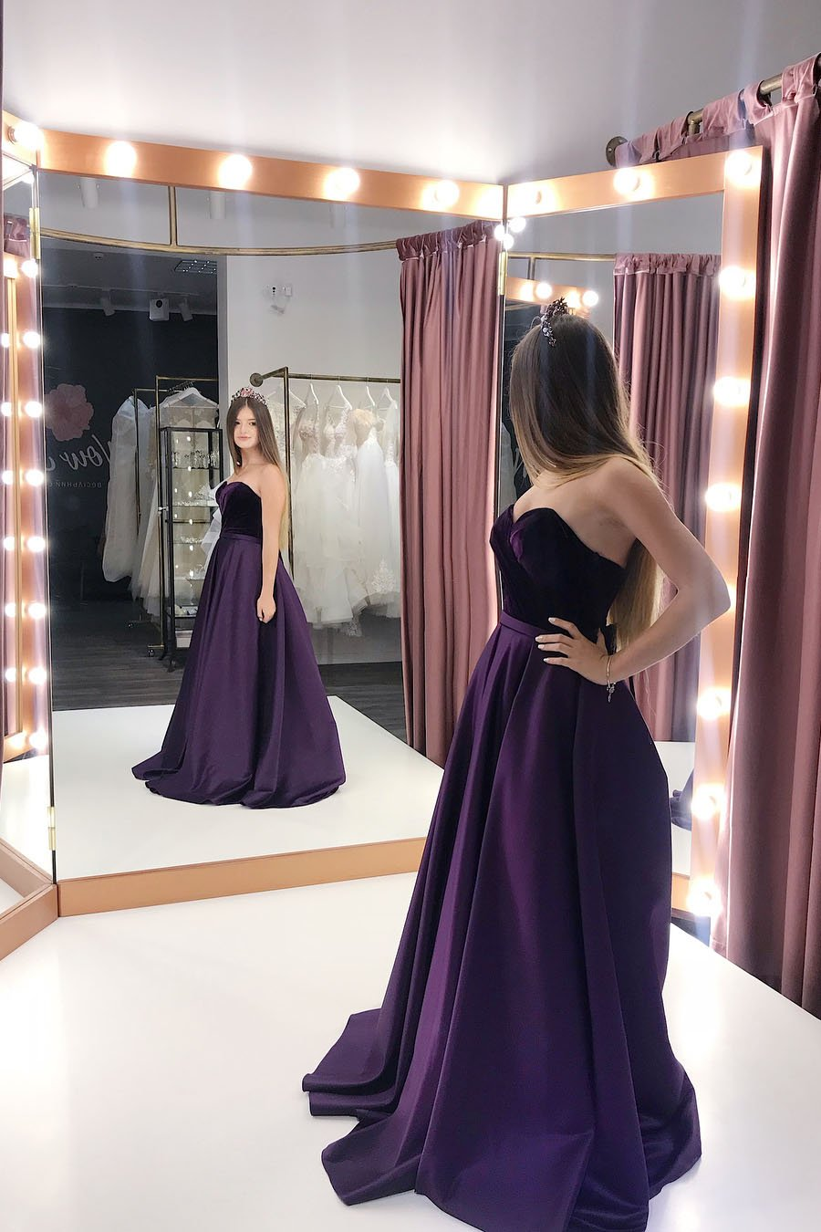 elegant purple satin sweetheart long prom dresses with pockets mp823