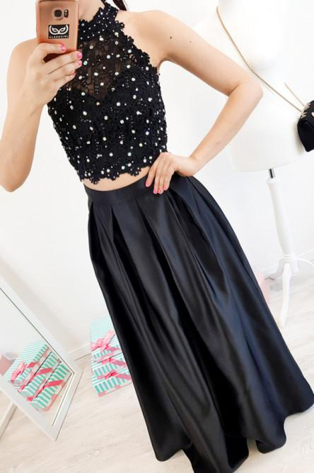 elegant two piece black lace prom dress high neck with beading mp722