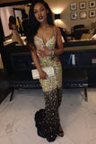 glitter mermaid sequined gold ombre prom party dress with split mp790