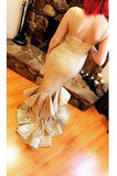 gold sequins prom dress straps sweetheart mermaid layered formal gown mp851