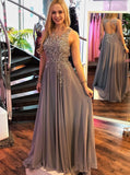 gray round neck long chiffon prom dress a line open back with beading mp946