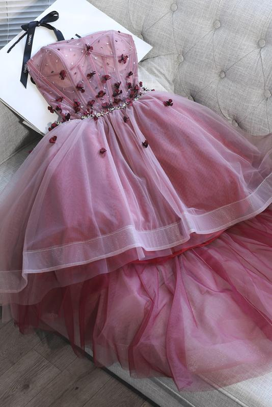 high low applique strapless prom party dress tutu skirt sweet 16 dress gm278