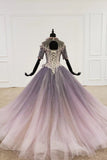 Sparkly ball gown ombre prom dresses with appliques quinceanera gown mg255