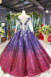 Sparkly Long Sleeve Ball Gown Sequins Ombre Quinceanera Dresses With Appliques MP186