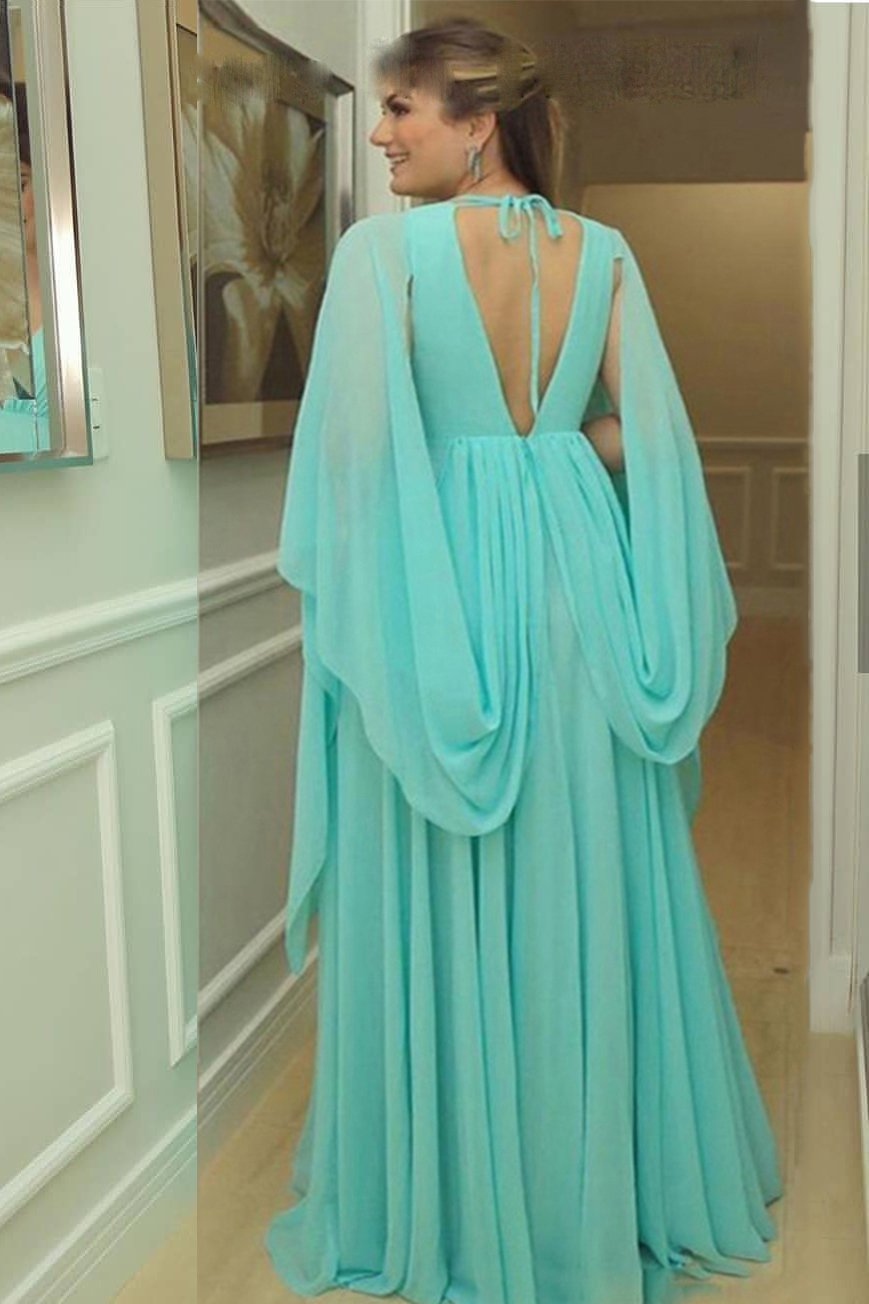 Chiffon Mint Green Long Prom Dresses, V Neck Muslim Evening Party Dresses MP89