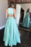 Square neck a-line mint green long prom dress with beaded pockets mg139