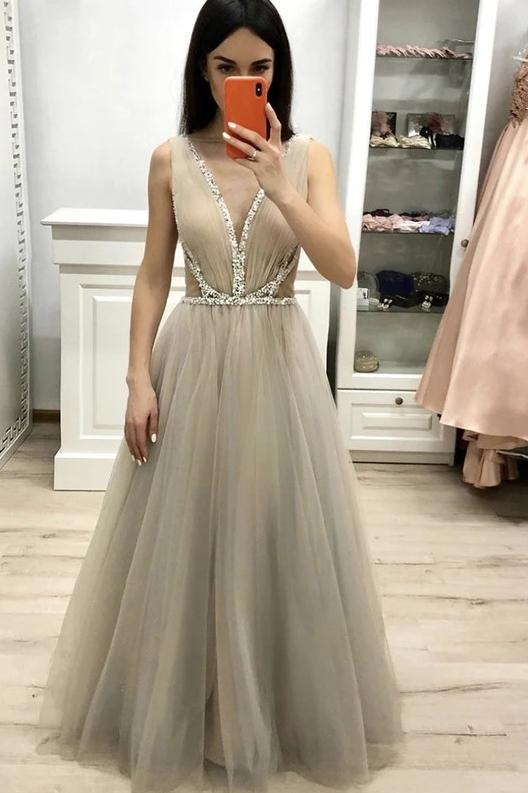 Deep v neck long prom dress with beading, a line tulle long graduation dress mg140