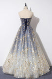 Strapless blue floral print tulle long a line prom dress, graduation dress mg143