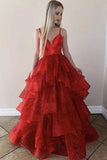 Sparkly red v neck tulle sweet 16 dress, sequins long princess prom dress mg141