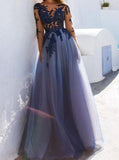 long sleeves see through open back tulle long prom dress with lace applique mp984