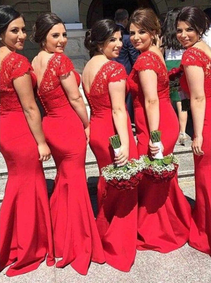 lace red mermaid satin long bridesmaid dresses with cap sleeves pb175