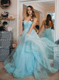 light blue backless prom gown spaghetti straps tulle tiered dance dress mp840