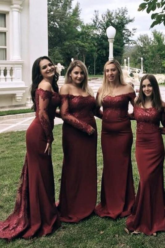 long sleeves burgundy mermaid bridesmaids dresses illusion off shoulder lace appliques pb164