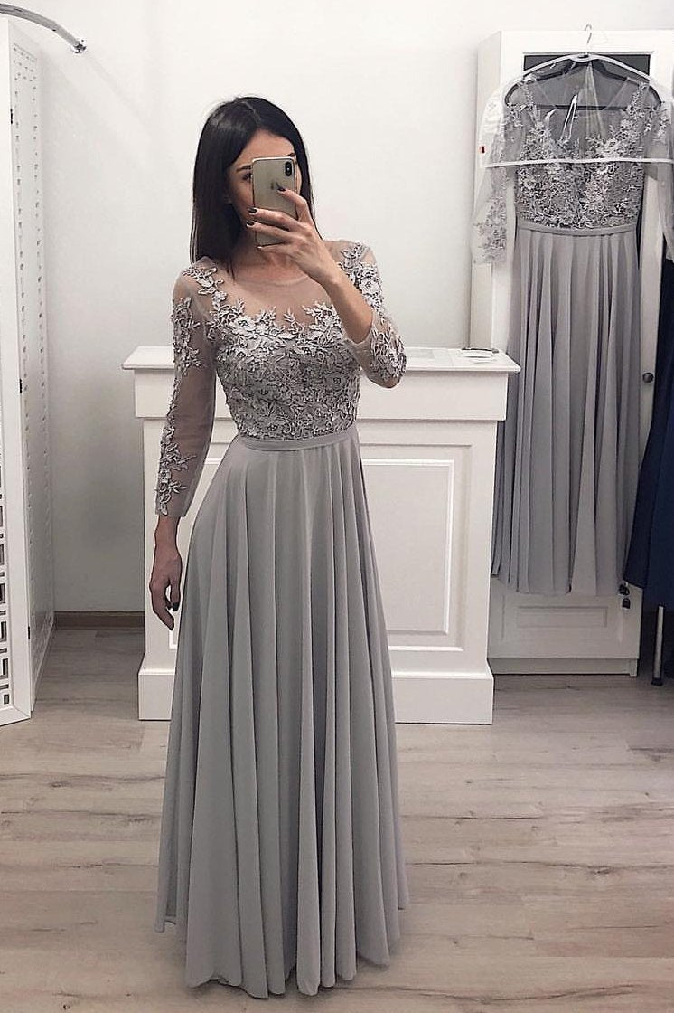 long sleeves chiffon long prom gown appliques bridesmaid dresses mp810