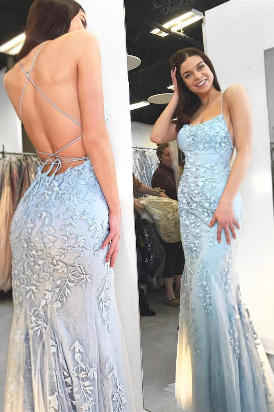 mermaid backless prom dress tulle spaghetti appliques evening gown mp826