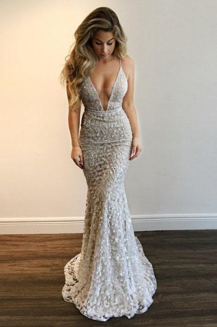mermaid plunging neckline lace backless prom dress with sequins mp778