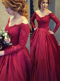 modest off the shoulder lace burgundy ball gown long prom dress with long sleeves mp922