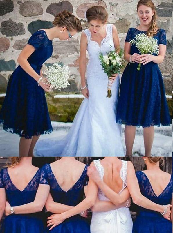 Modest Short Sleeves Knee Length Royal Blue Short Lace Bridesmaid Dresses PB185