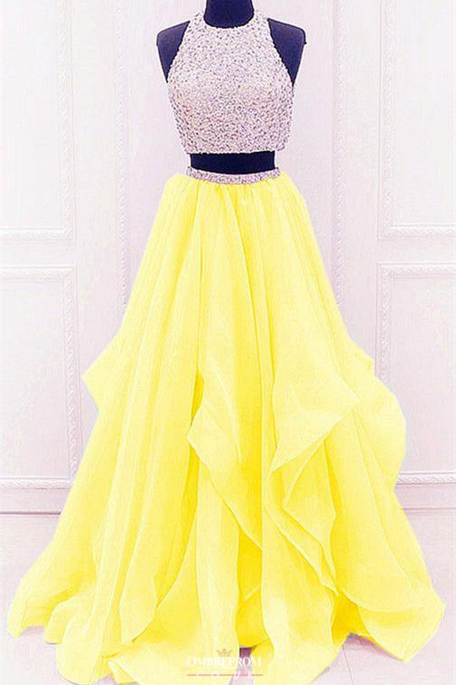 modest organza prom dress with ruffles, two piece beading formal dress mp748
