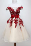 Chic Off Shoulder Short Prom Homecoming Dress With Beaded Appliques GM83