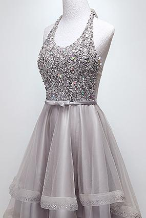 Sparkly Halter Sequins Bodice High-Low Prom Dress Tulle Homecoming Dress GM82