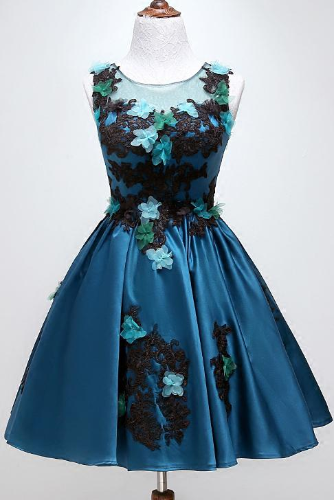 Round Neckline Satin Appliques Homecoming Dress, Dark Teal Party Dress GM87